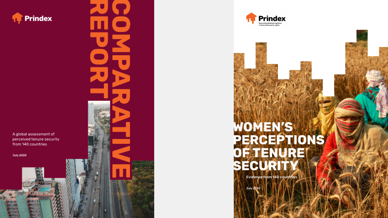 """picture of two cover images of reports; first says """"COMPARATIVE REPORT"""" and second says """"WOMEN'S PERCEPTIONS OF TENURE SECURITY"""""""