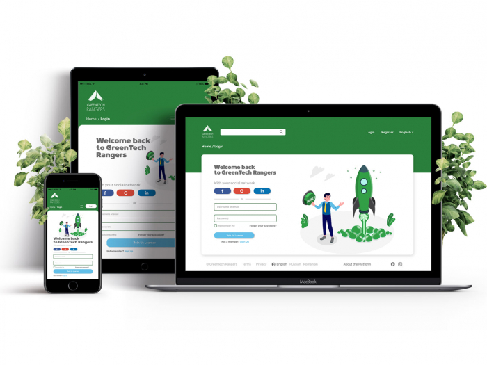 """A photo with a white background of three different devices (a laptop, a tablet, and a cell phone) open to the same webpage for GreenTech Rangers. It shows the login screen saying """"Welcome back to GreenTech Rangers"""" and there are leaves around the devices."""